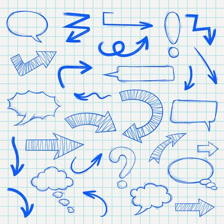 Hand drawn arrows and punctuation elements. Blue sketch on lined paper background