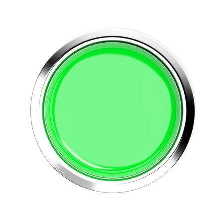 Green push button. Top view. 3d rendering illustration isolated