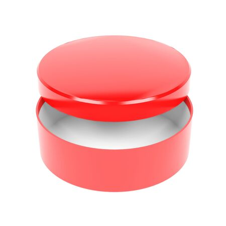 Round box. Open red carton with lid. 3d rendering illustration isolated