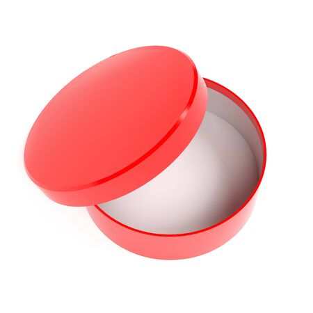 Round box. Open red carton with lid. 3d rendering illustration isolated Imagens - 127870475