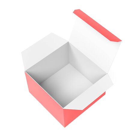 Open paper box. 3d rendering illustration isolated