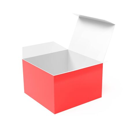 Open paper box. 3d rendering illustration isolated Imagens - 127870477