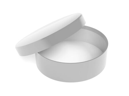 Round box. Open gray carton with lid. 3d rendering illustration