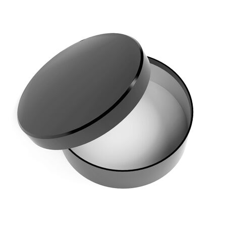 Round box. Open black carton with lid. 3d rendering illustration