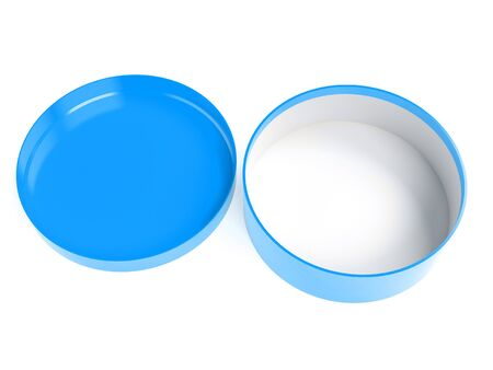 Round box. Open blue carton with lid. 3d rendering illustration