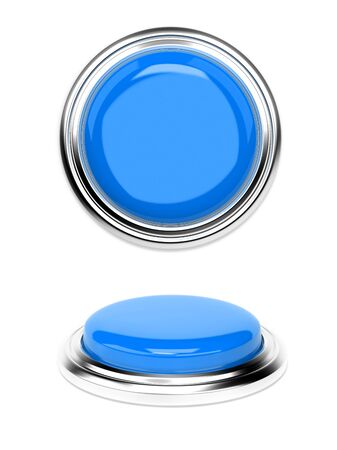 Blue push buttons. 3d rendering illustration isolated on white background Imagens - 127870481