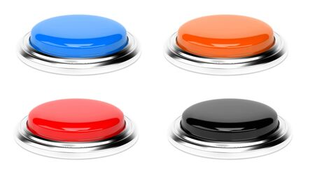 Push buttons. Collection. 3d rendering illustration isolated Imagens - 127870824