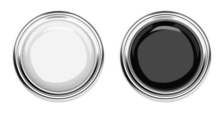 Black and white push buttons. Top view. 3d rendering illustration isolated Imagens - 127870825