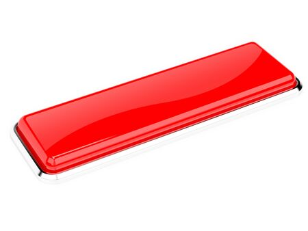 Red button. Glass shiny icon. 3d rendering illustration isolated