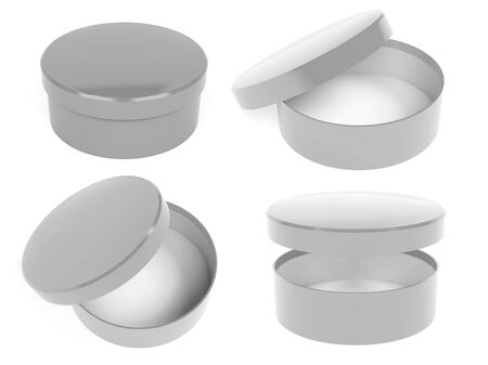 Round boxes. Closed and open gray carton. 3d rendering illustration isolated Imagens
