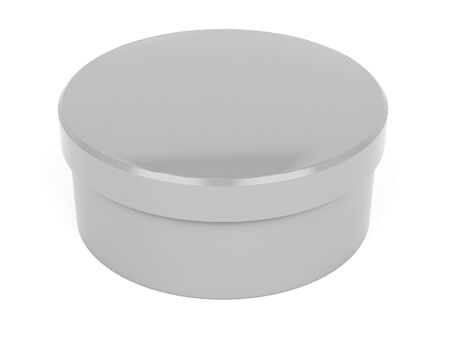 Round box. Closed gray carton. 3d rendering illustration isolated