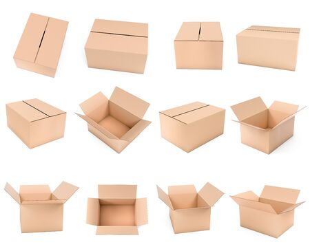 Shipping box mock up. Set brown cartons. 3d rendering illustration isolated 스톡 콘텐츠