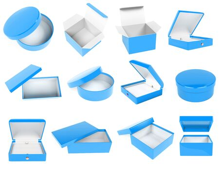 Blue boxes. Cartons, cases, packaging. 3d rendering illustration isolated on white background