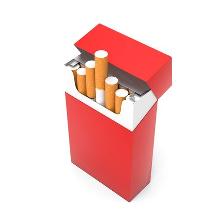 Red open pack of cigarettes. 3d rendering illustration isolated on white background Imagens - 127870835