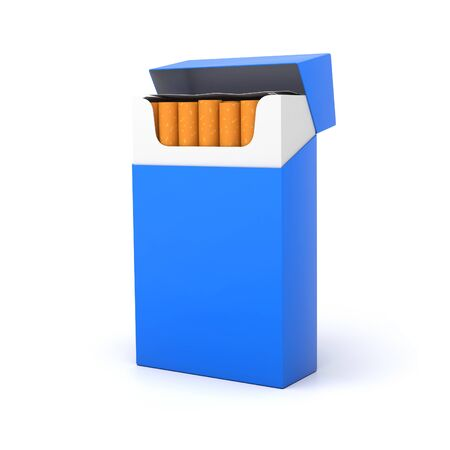 Blue open pack of cigarettes. 3d rendering illustration isolated on white background Imagens