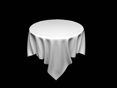 White tablecloth on invisible round table. On black background. 3d rendering illustration Imagens - 127870840