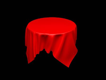 Red tablecloth on invisible round table. On black background. 3d rendering illustration Imagens
