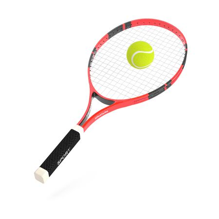 Tennis racket with yellow tennis ball. 3d rendering illustration isolated on white background Imagens - 127870842