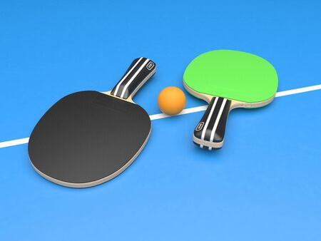 Green and black table tennis rackets with ball. On blue background. 3d rendering illustration