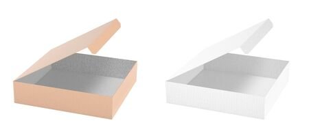 Flat paper box. Set of open cartons. 3d rendering illustration isolated on white background Imagens