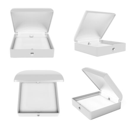 Jewelry box set. White open empty case for jewels. 3d rendering illustration isolated on white background Imagens - 127871158