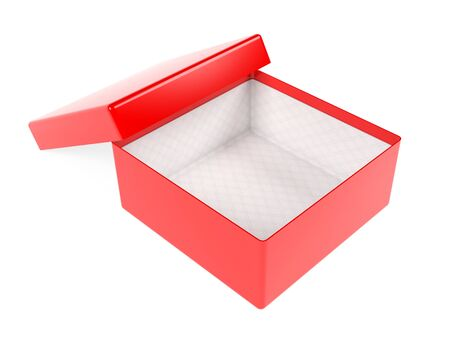 Red open gift box. Realistic carton mock up. 3d rendering illustration isolated on white background Imagens - 127871160