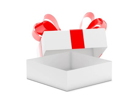 Gift box decorated with ribbon. Open empty container with red bow. 3d rendering illustration isolated on white background Imagens - 127871167