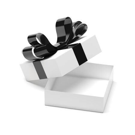 Gift box decorated with ribbon. Open empty container with black bow. 3d rendering illustration isolated on white background