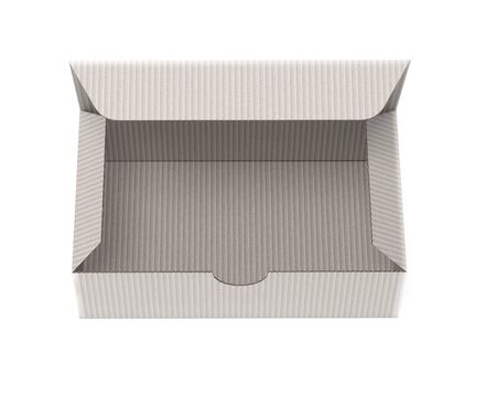 Paper cardboard box template. Gray empty carton. 3d rendering illustration isolated on white background Imagens - 127871169