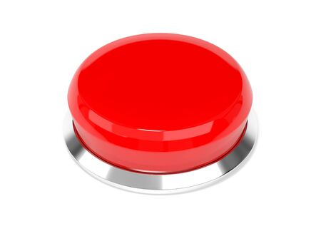 Red push button. Alarm sign. 3d rendering illustration isolated on white background Imagens - 127871168