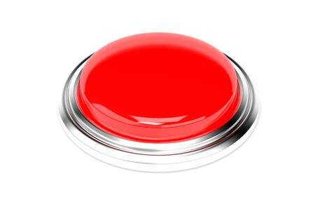 Red push button. Alarm sign. 3d rendering illustration isolated on white background Imagens - 127871170