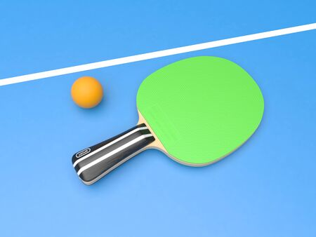 Green table tennis racket with ball. On blue background. 3d rendering illustration Imagens - 127871174