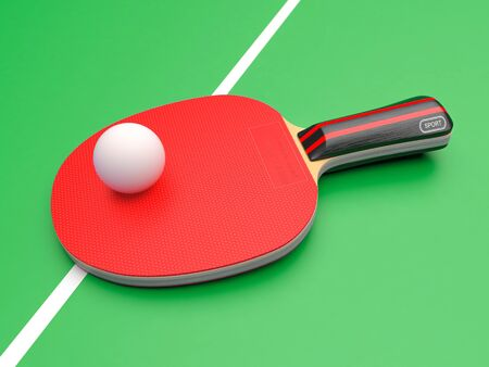 Red table tennis racket with ball. On green background. 3d rendering illustration Imagens - 127871176