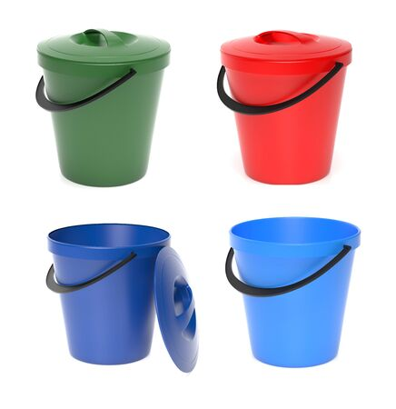 Plastic buckets with lid. 3d rendering illustration isolated on white background Imagens - 127871177