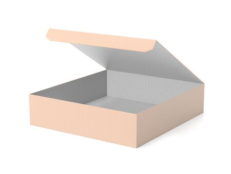 Flat brown paper box. Open carton. 3d rendering illustration isolated on white background Imagens - 127871179