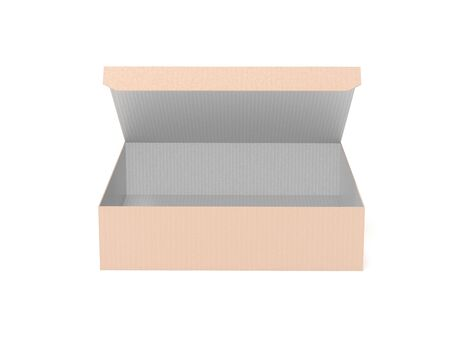 Flat brown paper box. Open carton, front view. 3d rendering illustration isolated on white background Imagens