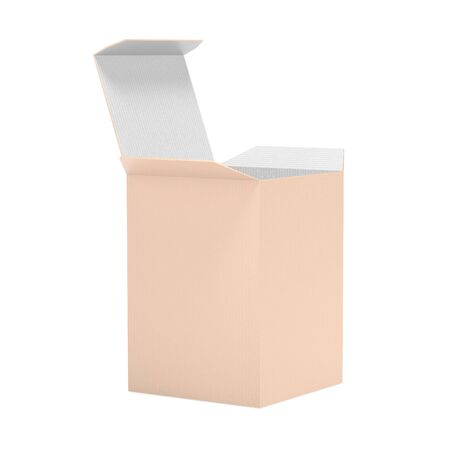 Brown paper box. 3d rendering illustration isolated on white background