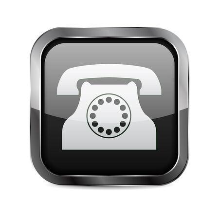 Black square 3d button. Phone sign