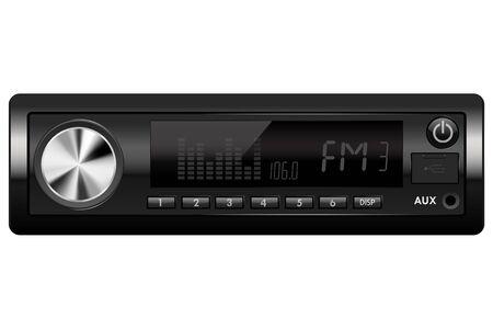 Car audio. Media receiver. Vector illustration isolated on white background Illustration