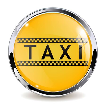 Taxi sign. Yellow black 3d button. Vector illustration isolated on white background Imagens - 127925740