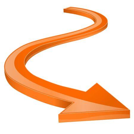 Orange arrow. Shiny 3d icon Ilustração