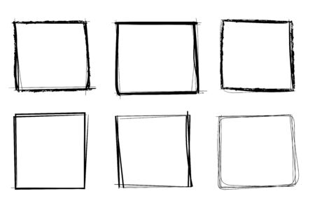 Squares. Hand drawn shapes. Doodle style