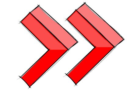 Double arrow sign. Red hand drawn sketch Ilustração