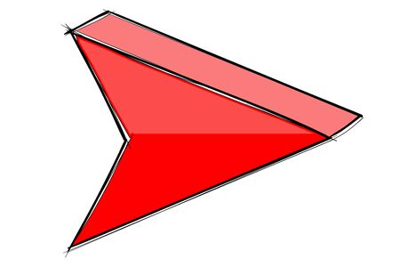Arrow sign. Red hand drawn sketch