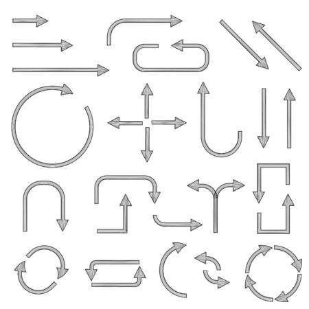 Black simple arrows. Web icons. Vector illustration isolated on white background