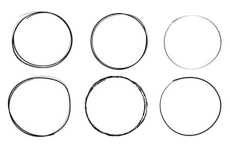 Circles. Hand drawn shapes. Doodle style