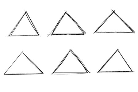 Triangles. Hand drawn shapes. Doodle style Ilustração