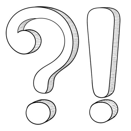 Question and Exlamation marks. Doodle style. Vector illustration isolated on white background