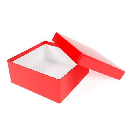 Red gift box. Open emty box mock up. 3d rendering illustration isolated