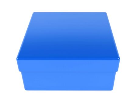 Blue gift box. 3d rendering illustration isolated